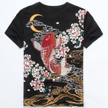 Японский Ukiyoe стиль унисекс футболка Вышивка Карп Рыба Высокое качество Лето Этническая футболка Топы Футболки Мода Бесплатная доставка