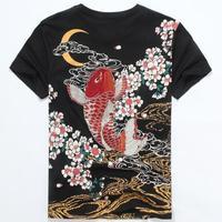 Japanese Ukiyoe Style Unisex T Shirt Embroidery Carp Fish High Quality Summer Ethnic T Shirt Tops