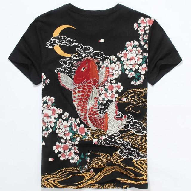 יפני Ukiyoe סגנון יוניסקס T חולצה רקמת קרפיון דגים באיכות גבוהה קיץ אתני חולצה חולצות Tees אופנה משלוח חינם