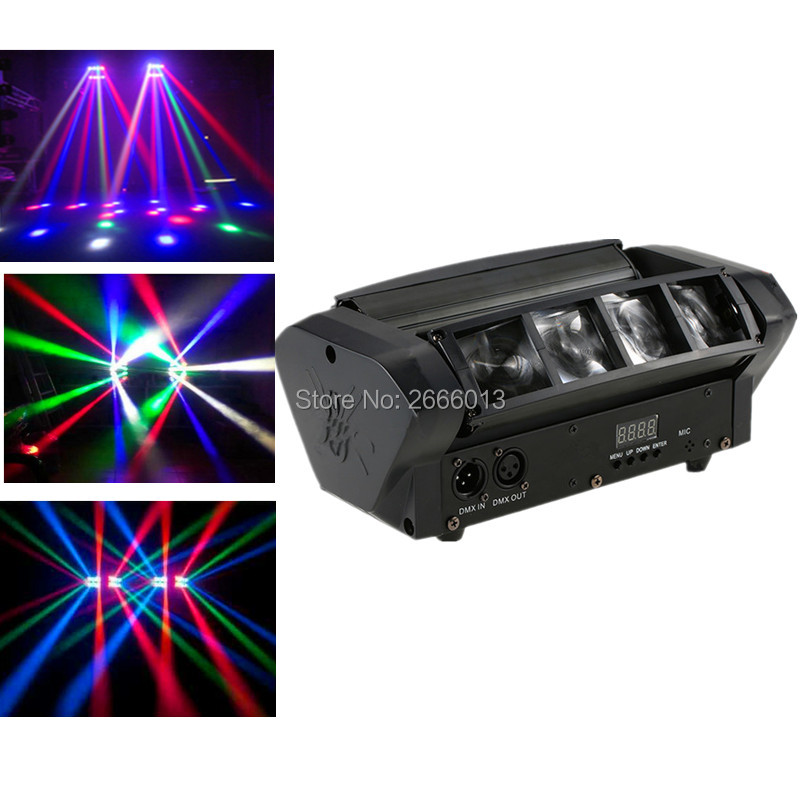 RGBW Mini LED Spider Light  LED Beam Stage effect Lights/DMX512 LED moving head light Sound control Home party lamp DJ lighting 2pcs lot dmx512 rgbw 4in1 mini led moving head light for disco dj club home party and stage effect lights 10w led beam light