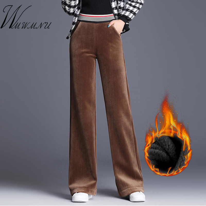 Plus Size 4XL Elastic   Wide     Leg     Pants   Women High Quallity Corduroy Loose Trousers Ladies Office Work Casual Autumn Winter   Pants