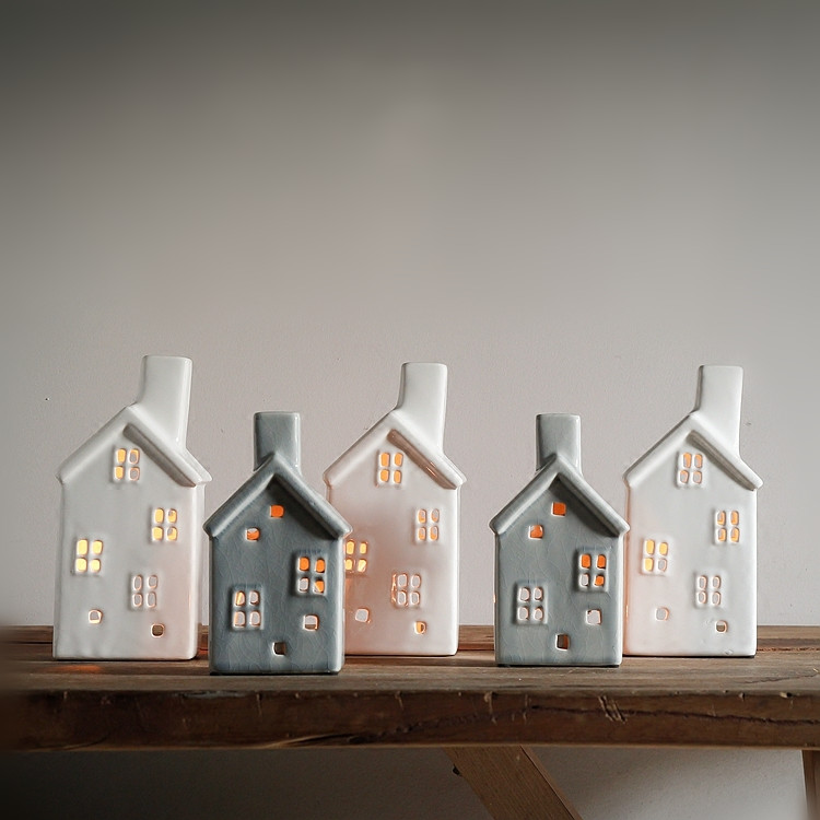 Handmade Vintage Porcelain Christmas House Candle Holder