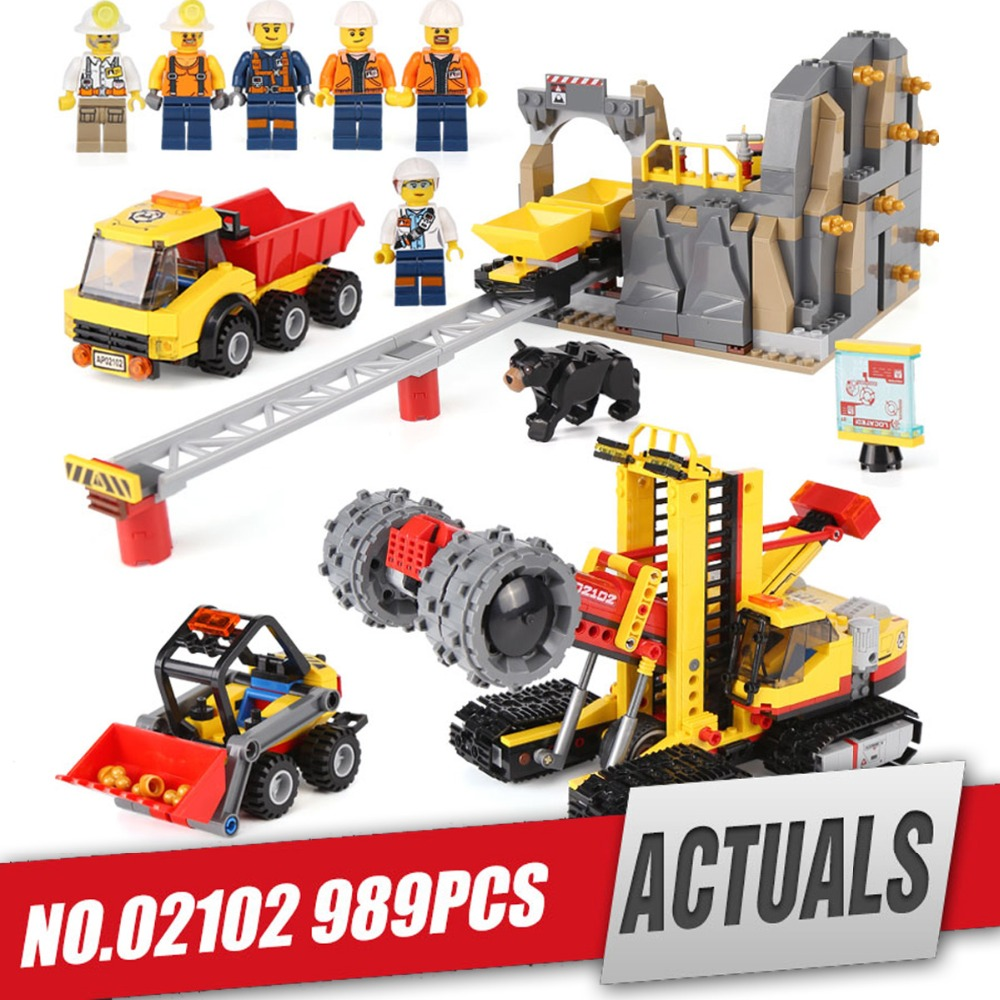 Lepin 02102 Genuine Toys 989Pcs City Series The 60188 Mining Experts Site Set Building Blocks Bricks legoing Model as Kids Gifts lepin city town city square building blocks sets bricks kids model kids toys for children marvel compatible legoe