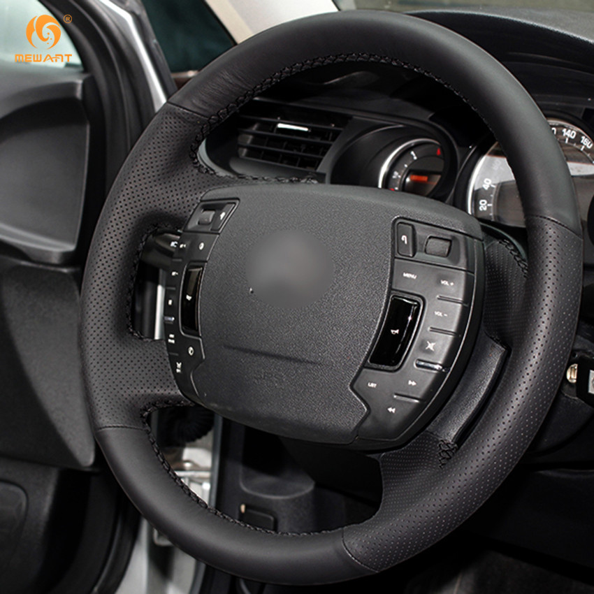 mewant black genuine leather car steering wheel cover for citroen c5 Citroen C5 2.0 mewant black genuine leather car steering wheel cover for citroen c5 2008 2017 interior accessories parts in steering covers from automobiles motorcycles