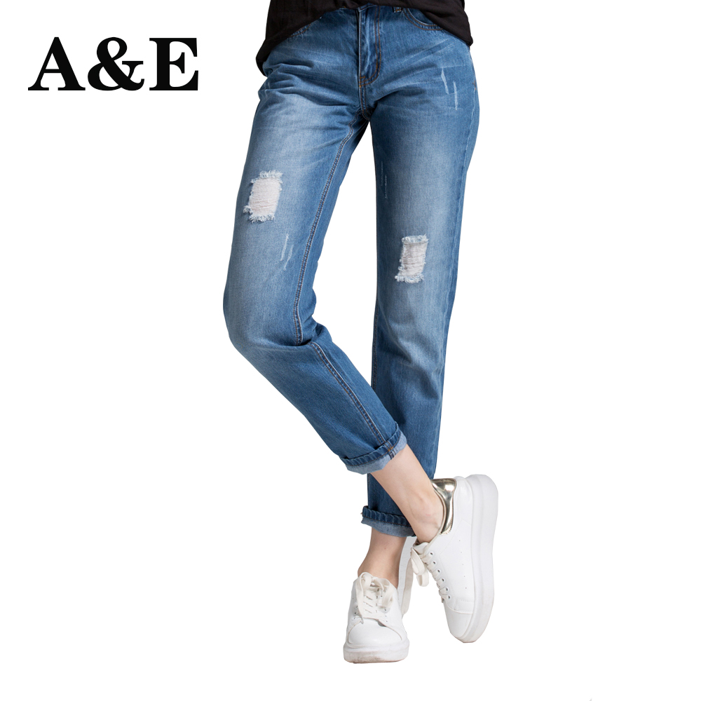 Alice & Elmer Ripped Boyfriend Jeans For Women Jeans Pants Women Mid-Waist Holes Denim Jeans Female Pants