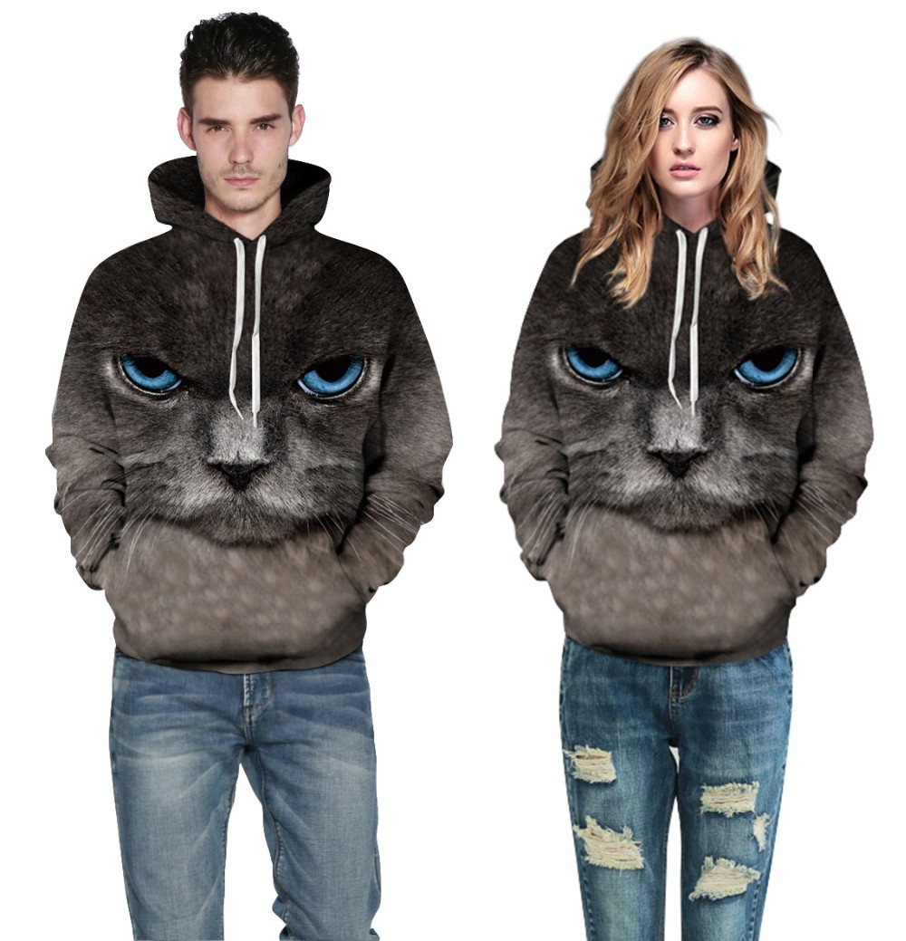 Aletterhin Drawstring Hooded Sweatshirt Men Women 3D Cat Print Autumn Winter Pullovers Hoodies Lovers Long Sleeve Plus Size Tops