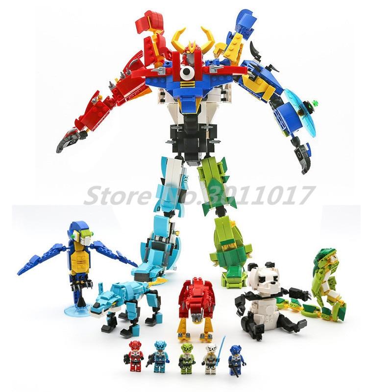 Morphing Robot Building Blocks Creator Of God War Bricks 5 in 1 Enlighten 1403 Model Educational DIY Toys For Children