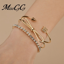 MissCyCy 3Pcs/set Adjustable Rhinestone Bracelet for Women B
