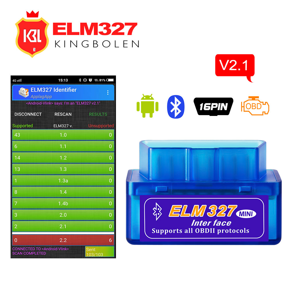 ELM327 V2.1 Bluetooth OBD II OBD2 Car Diagnostic Tool Super Mini ELM 327 V 2.1 Bluetooth Code Reader For 12 V CAR For Android