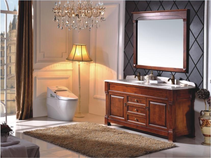 €1207.02 |Armoire de salle de bain classique en bois sculpté avec comptoir  en marbre B6007 on AliExpress