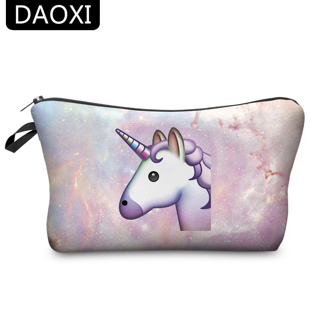 DAOXI Unicorn Cosmetic Bags 3D Printing Women Necessary For Travel Storage Makeup