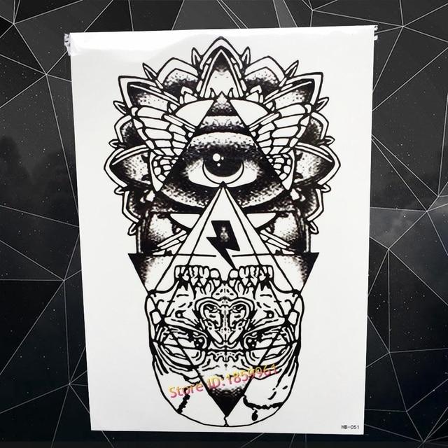 Fashion Big Size Fake Black Tattoo God Eye Designs Body Art Tatoo Arm Sleeve Men 21x15CM Triangle Tattoo Stickers Totem Women