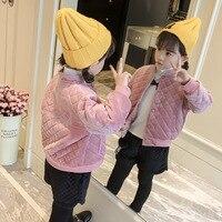 2018 nuevo otoño y el invierno de las muchachas abrigo corto párrafo niñas cartas moda carpeta ropa de algodón para niños 3 T 4 T 5 T 6 T 7 T