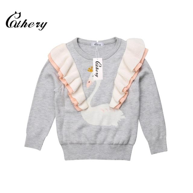 Cathery אופנה ברבור פעוט ילדים תינוקת סרוג חולצות לפרוע ארוך שרוול סוודר 1-6Y