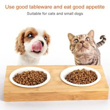 Pet Dog Bowl fountain Stainless Steel/Ceramic Feeding and Drinking Bowls Combination with Bamboo Frame for Dogs Cats