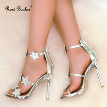 Roni Bouker Latest Women Peep Toes Strappy Summer Sandals Silver Crystal Ankle Strap Stiletto Heels Zipper Ladies Wedding Shoes