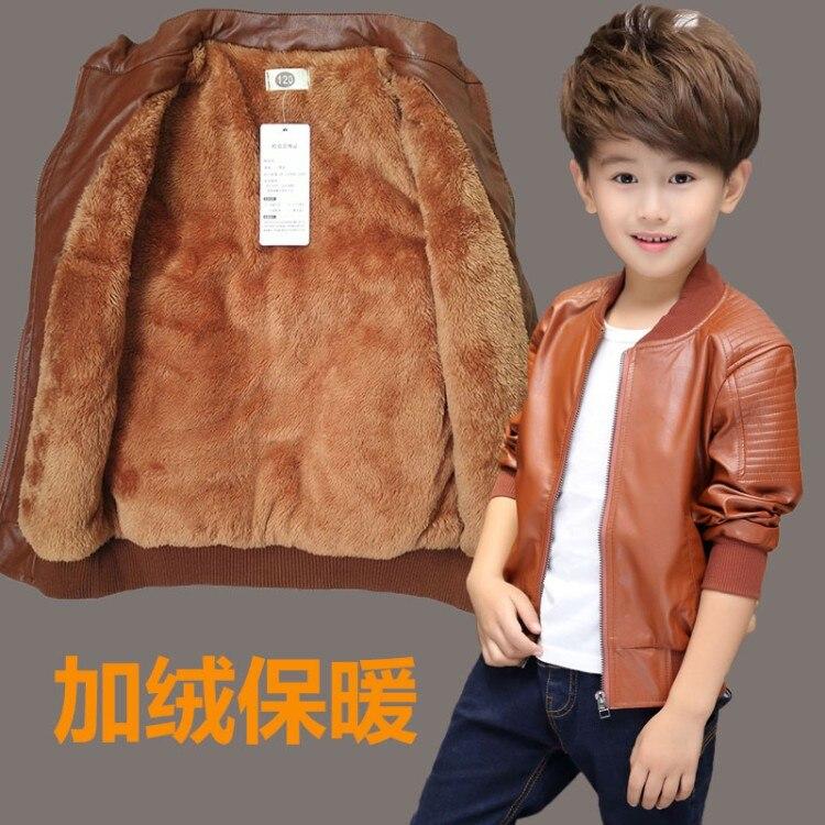 2017new детская кожаная куртка для мальчиков флисовая куртка пальто для мальчиков manteau GARCON Детская куртка черный и коричневый цвета Цвет детск...
