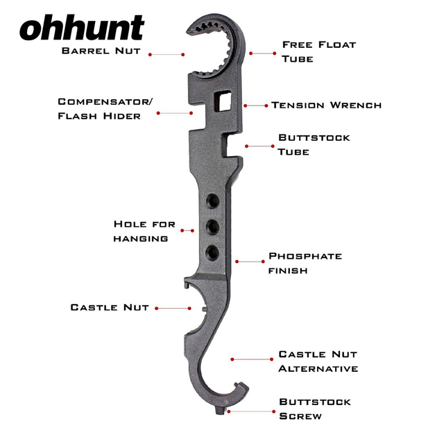 AR15 Combo Wrench Tool includes Castle Nut Wrench Barrel Nut Wrench  Buttstock Tube Tool Muzzle Brake Flash Hider Handguard Tool-in Hunting Gun