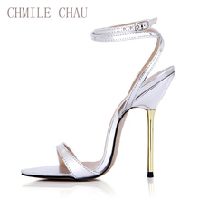 купить Women Sandals High Heels Patent PU Ankle Strap Open Toe Iron Thin Heel Sexy Party & Eevening Big Sizes Lady Heeled Shoes 3845-i2 дешево