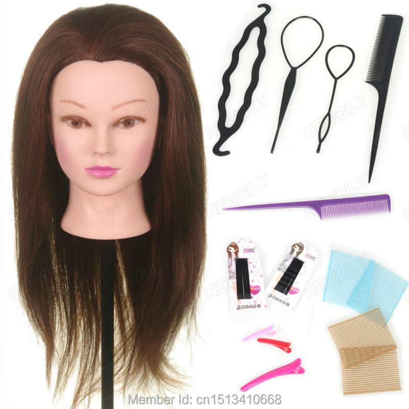 doll hair styling head 22 quot 90 real hair salon mannequin doll 1734 | 22 90 Real Hair Training Salon Mannequin Doll Head Hairdressing Practice cosmetology hair styling mannequins with