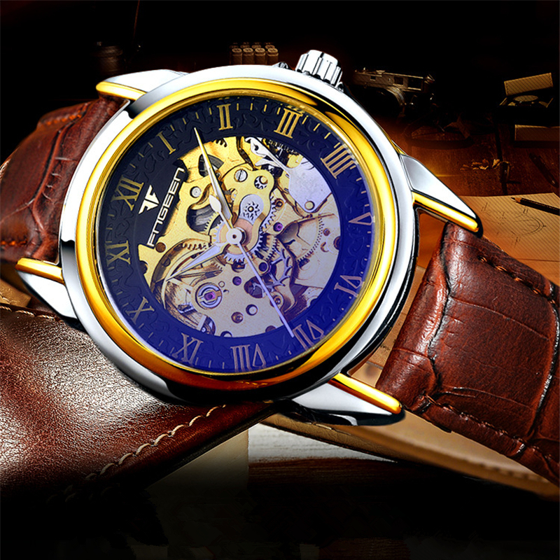 Fashion Men Watches Male Automatic Mechanical Wrist Watch Top Brand FNGEEN Genuine Band Brown Leather Casual Man Clock New Liste fashion fngeen brand simple big dial skeleton automatic mechanical men casual wrist watch stainless steel band horloges 6609g