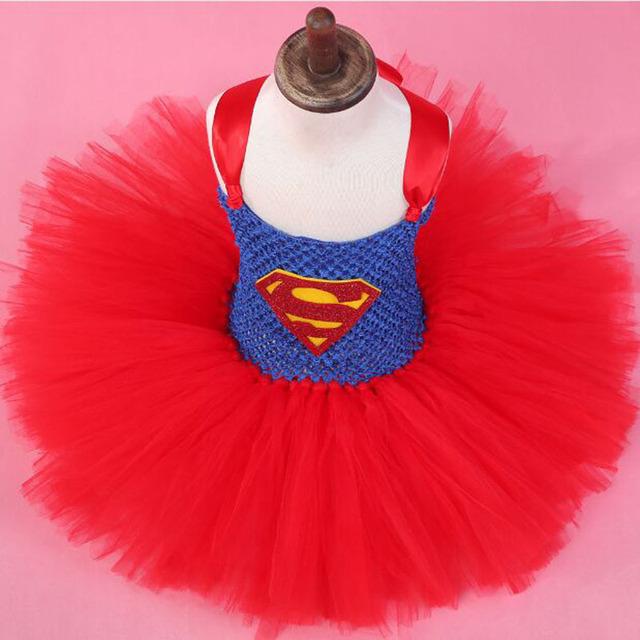 Moda infantil del bebé del tutú de halloween superhero disfraces vestidos de cumpleaños para 1 años de edad