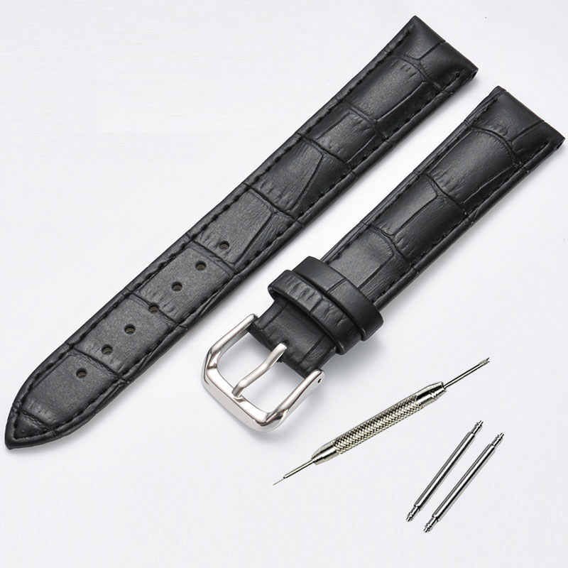 10 12 14 15 16 17 18 19 20 21 22 24mm Genuine leather watchband Luxury watch belt strap wristwatches band Female red white black