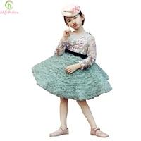 Ssyfashion зима Платья для девочек на свадьбу для свадьбы высокого класса Длинные рукава Кружево Вышивка принцессы Выходные туфли на выпускной