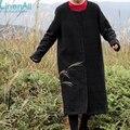 Roupas de linho linho e algodão escuro do vintage outono e inverno das mulheres casaco Para Baixo outerwear parkas LinenAll Sishan
