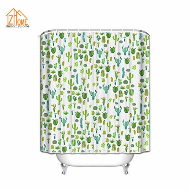 Memory Home Decration Decor Cactus Print Plant Shower Curtain Unique  Waterproof Polyester Fabric Shower Curtains With