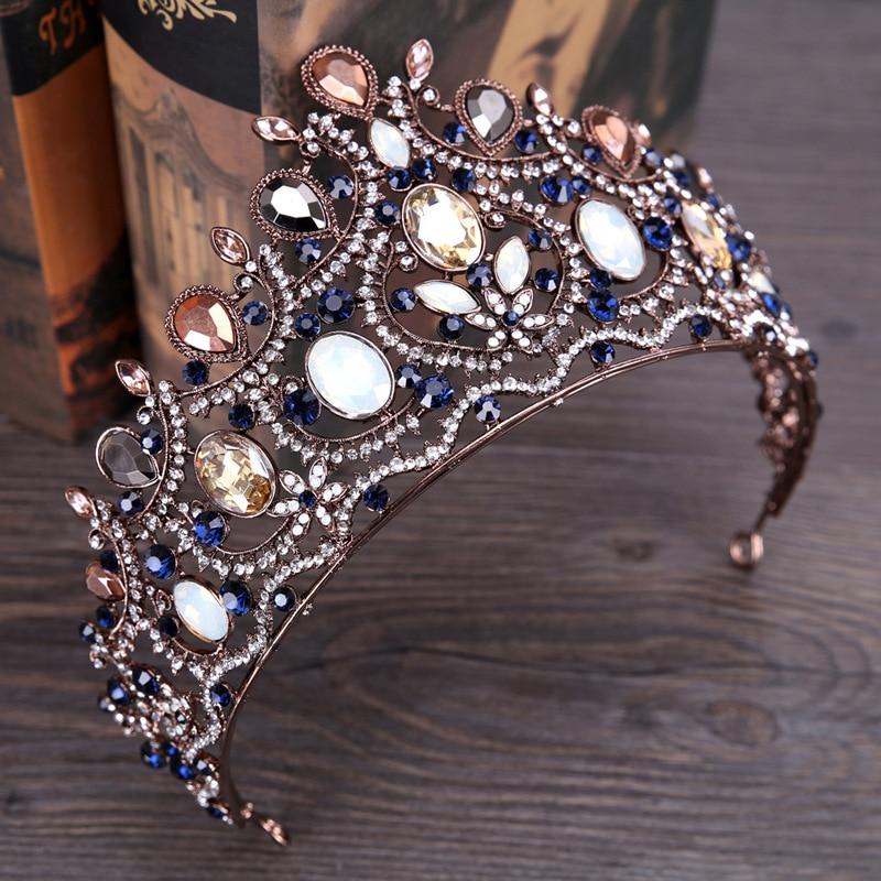 2018 New Retro Elegant Blue Crystal Crown Tiara Hairband For Bride Wedding Pageant Crown Luxury Large Bridal Hair Accessories цена 2017