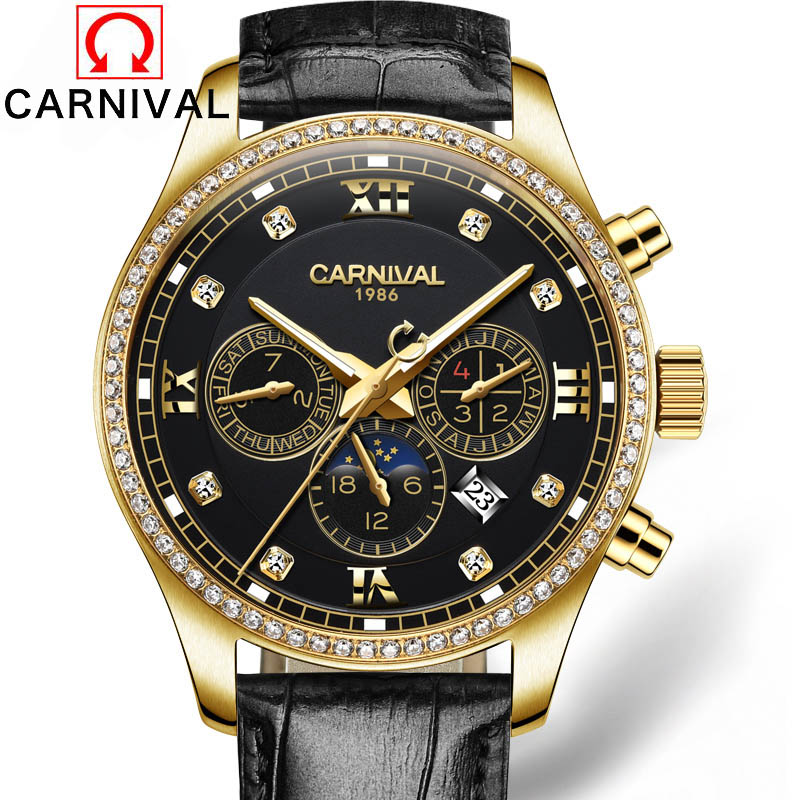 цена на Carnival Top Brand Luxury Royal Diamond Design Black Gold Watch Montre Homme Mens Watches Relogio Male Skeleton Mechanical Watch
