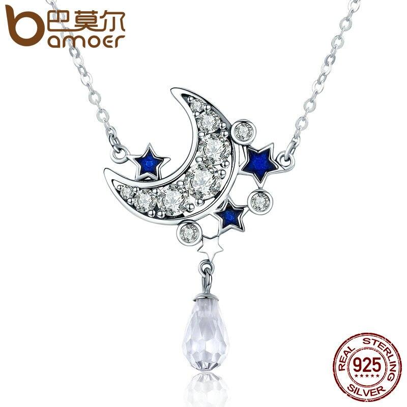 4a195de8ee90 BAMOER genuino 925 Sterling plata media luna Luna y estrella brillante  colgante de cristal collares para mujeres regalo de joyería fina SCN110