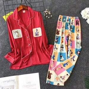 Image 2 - Daeyard pijama feminino conjunto de camisas e calças de seda 2pcs pijamas meninas bonito nightie pijamas contraste cor casual casa pj conjunto