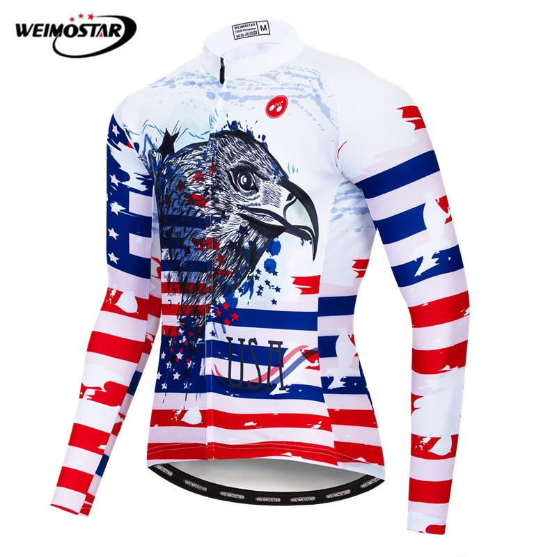 7c6b10513 Weimostar USA Pro Team Cycling Jersey Long Sleeve Autumn Mountain Bike  Clothing Wicking Bicycle Shirt Breathable Cycling Wear-in Cycling Jerseys  from Sports ...