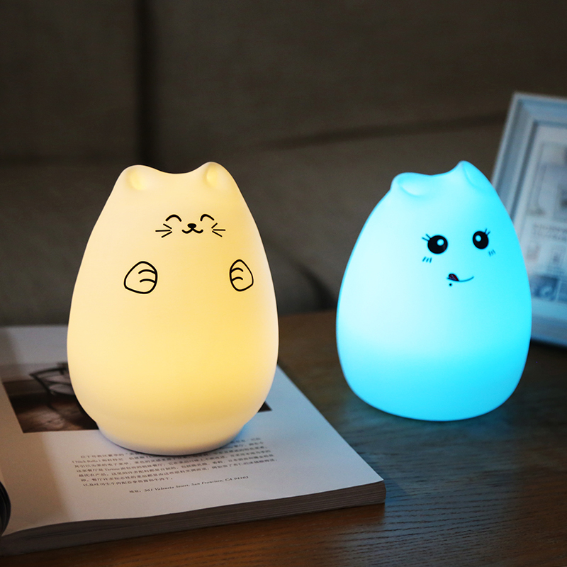 Original Cat Light Color Changeable Silicon Night Light Cute Kitten LED touch Pet Light for Home Office bedside Animal Soft Lamp