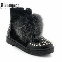 Aiyuanyuan Теплые Зимние ботильоны Большие размеры 40, 41, 42, 43 размеры 44, 45 из искусственного меха и заклепки дизайн Туфли на низком каблуке