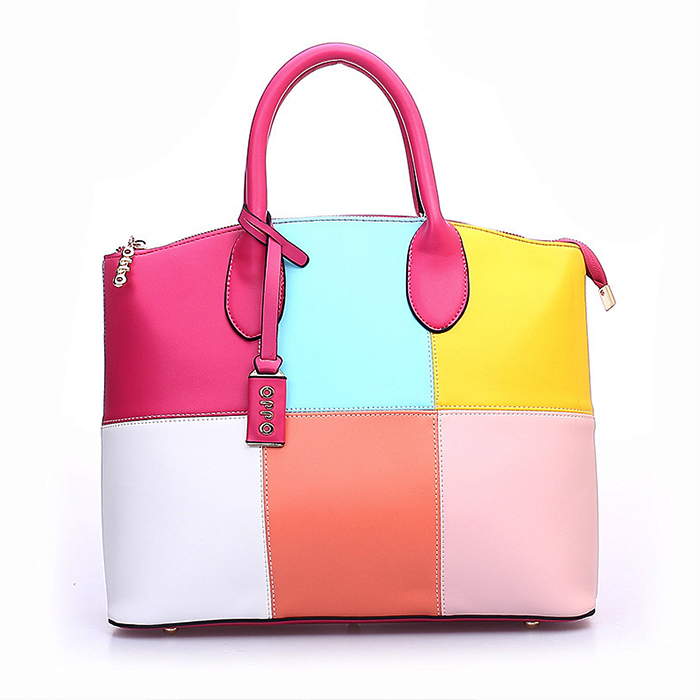 5e8776671f 2015 Women Fashion Shoulder Bag Large Handbags Colourful Patchwork Ladies  Bags Leather Cheap Designer Handbag Laptop Bags