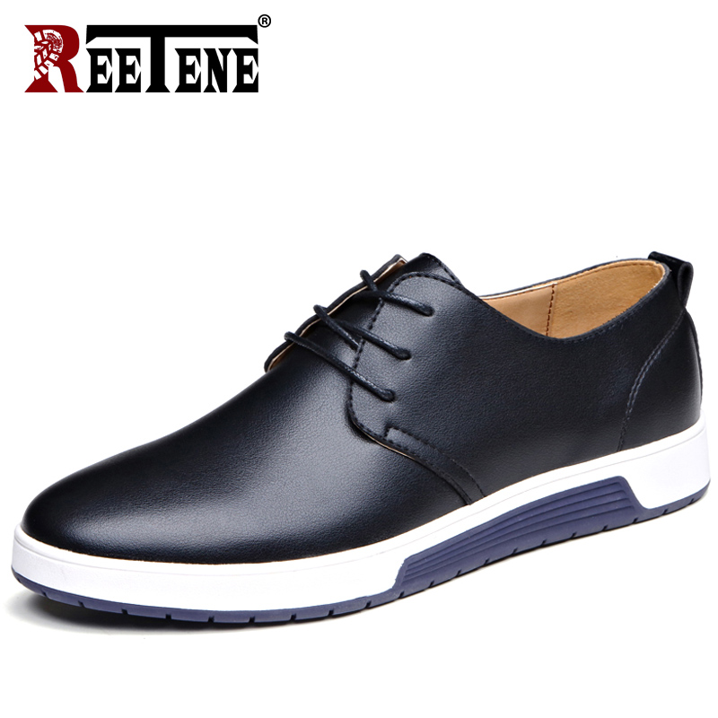 REETENE 2018 New Leather Shoes Men Summer Breathable Holes Men Casual Shoes Autumn Men Shoes Casual Leather Winter Drop Shipping mulinsen new 2017 autumn winter men