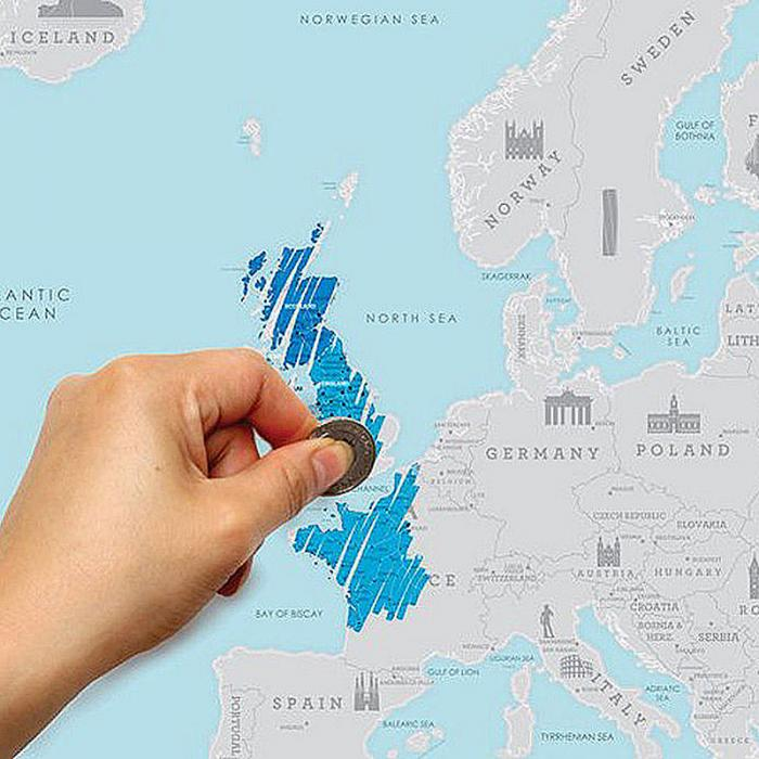 New arrival travel Map Of scratch off Map Packed in Card Tube of Europe Map Travel Vacation Traveler Log Gift GGDT-005