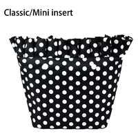2018 nuevo tejido de sarga compuesto clásico Mini impermeable plisado forro interior bolsillo con cremallera para el bolsillo Obag para O Bag