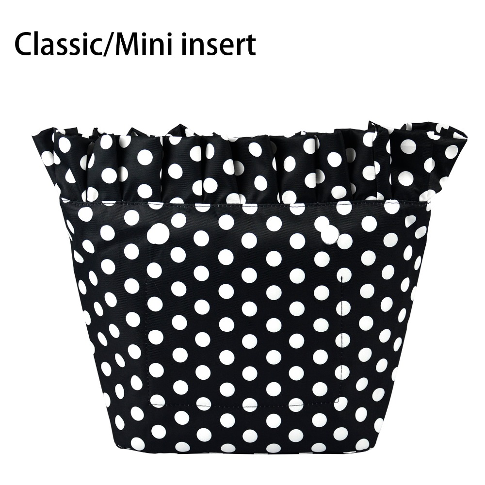 New Composite Twill Cloth Classic Mini Waterproof Frill Pleat Inner Lining Insert Zipper Pocket For Obag Pocket For O Bag