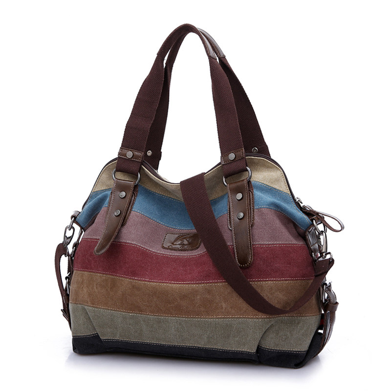 Contrast Color Striped font b Handbag b font Color matching Canvas Hobo Bag Women Fashion Casual