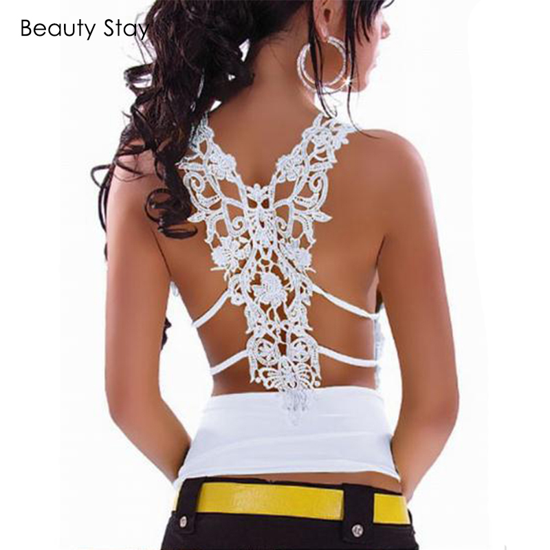 BeautyStay Embroidery Hollow Out Lace Patchwork Tanks Tops Open Back Sexy Summer Sexy White Party Elegent Women Crop Tops Vest