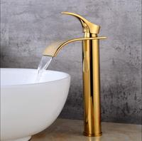New Arrivals Bathroom Faucet hot and cold Gold Crane Brass Basin Faucet Waterfall Sink Faucet Single Handle water tap