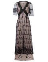 Sexy Retro Victorian Style Half Sleeve V Neck Lace Dress Mesh cloth Pathwork middle East Muslim women Dress vestidos verano 2018