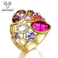 Viennois Luxury Women Rings with Red Crystal Round Circles Wide Rings Wedding Party Bridal Jewelry