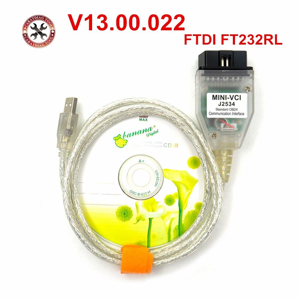Последние мини VCI V13.00.022 Интерфейс для TO-YOTA Techstream MINI-VCI FT232RL чип J2534 OBD2 диагностический кабель