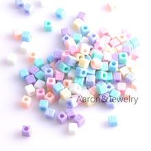 7x7mm 100PCs Mixed color Acrylic Alphabet/Letter square Bead