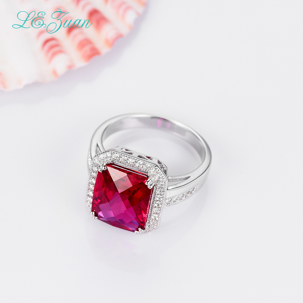 L&zuan 925 Sterling Silver Ring 7.73ct Ruby Gemstone Red Stone Romantic Luxury Fine Jewelry Rings For Women Bijouterie R0053 W01